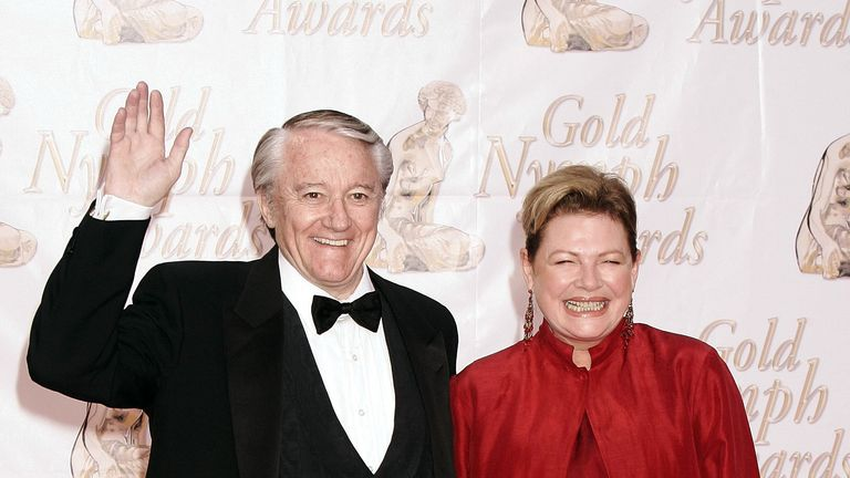 2004: Robert Vaughn poses with actress Diane Wiest as they arrive to attend the Gold Nymph awards in Monte Carlo