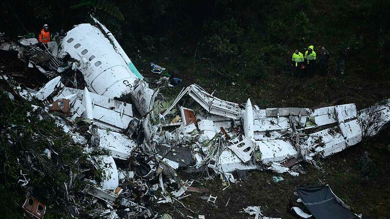 The wreckage of the plane after it crashed in the mountains of Cerro Gordo
