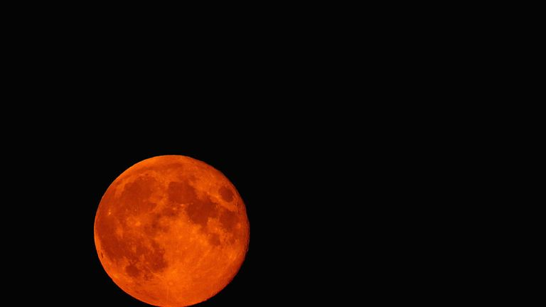 A blood-red Supermoon seen rising in the sky above High Wycombe in 2014