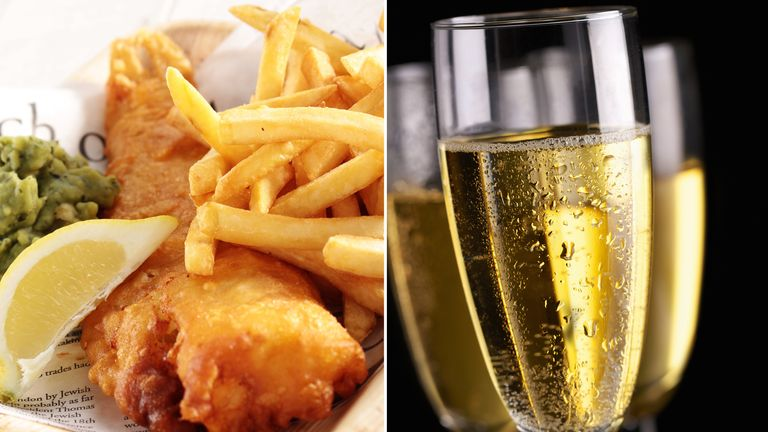 Fish, chips and prosecco