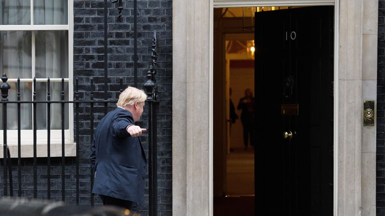 Boris Johnson indicated the Cabinet is united with a thumbs up ahead of a meeting in Downing Street