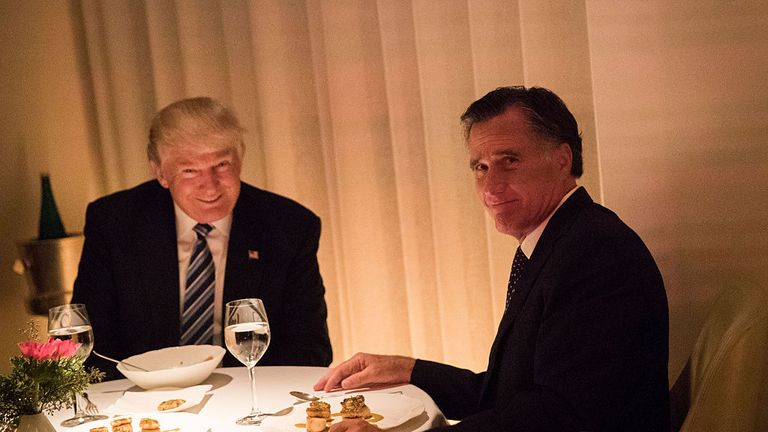 Donald Trump and Mitt Romney dine together as the President-elect finalises his cabinet picks