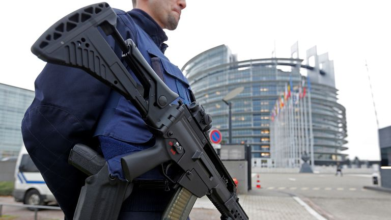 A French CRS policeman stands guard in front of the European Parliament in Strasbourg, France, November 21, 2016. France said on Monday it had foiled a terrorist plot and arrested seven people, a year after a state of emergency was imposed to counter a wave of Islamist attacks