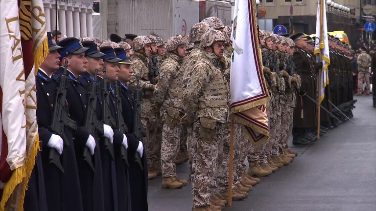Troops at a Remembrance Day parade in the Latvian capital Riga