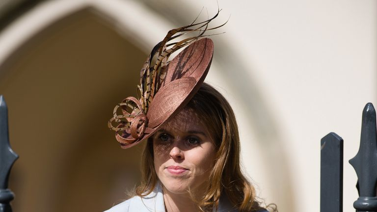 Britain's Princess Beatrice arrives for the Easter Sunday church service at St George's Chapel, Windsor Castle, in Windsor, west of London, March 27, 2016