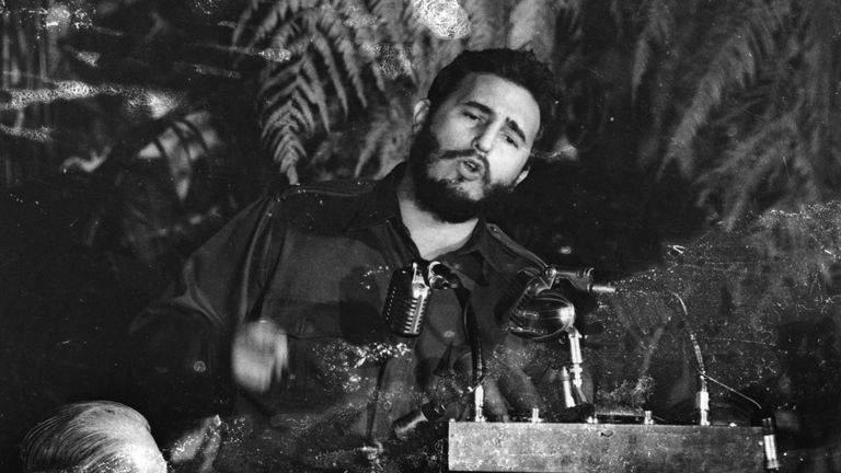 Fidel Castro, Premier of Cuba addressing the American Society of Newspaper Editors during a meeting in Washington, USA, in 1959
