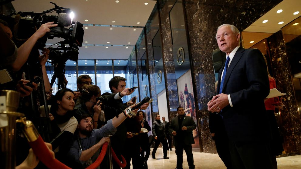 US Senator Jeff Sessions, an adviser to US President-elect Donald Trump, speaks to members of the media in the lobby of Trump Tower in the Manhattan borough of New York City, New York November 17, 2016