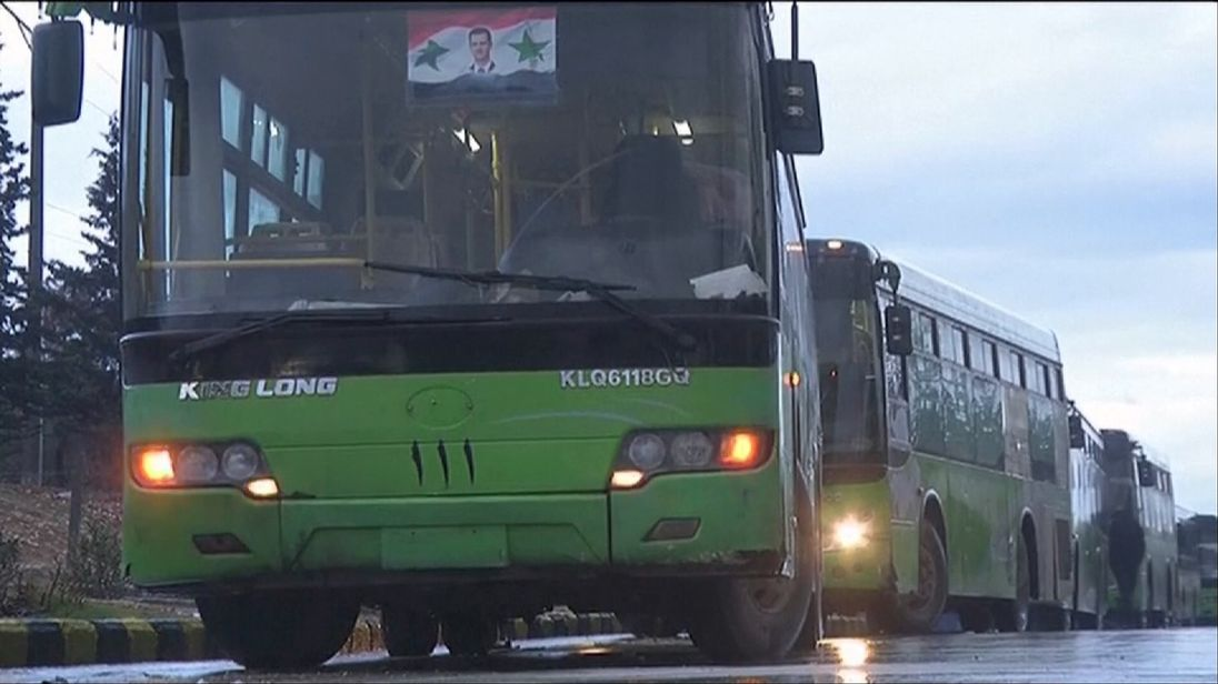 Buses wait to take civilians out of Aleppo
