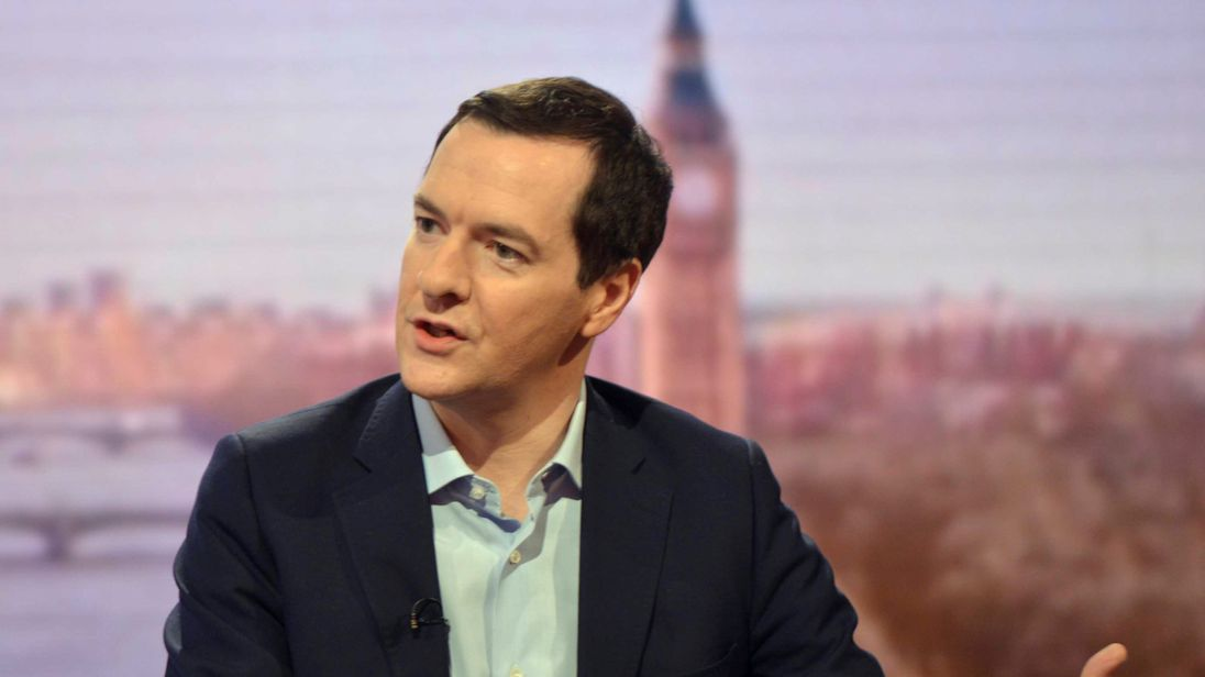 Britain's former Chancellor of the Exchequer George Osborne is seen speaking on the BBC's Andrew Marr Show