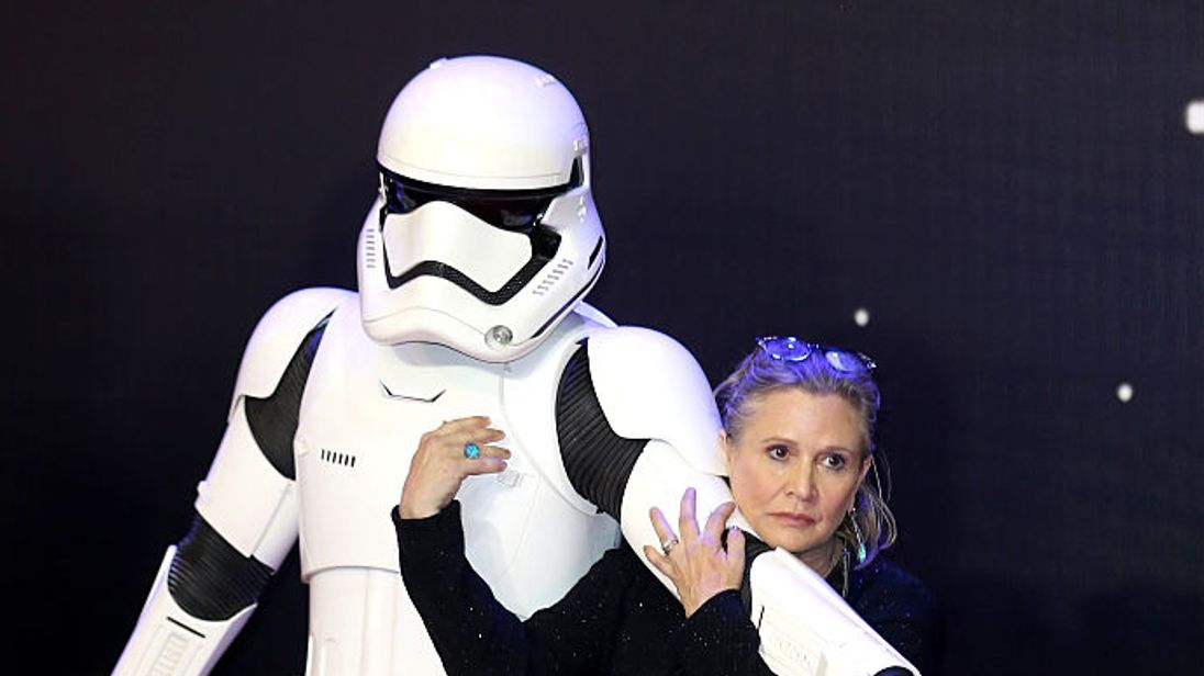Carrie Fisher attends the European Premiere of Star Wars: The Force Awakens