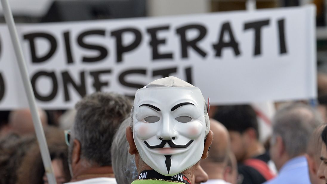 A M5S supporter at a rally in Italy
