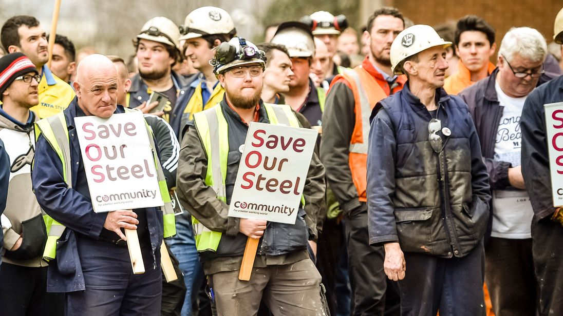 Workers at the Port Talbot plant waiting to speak to Sajid Javid in April