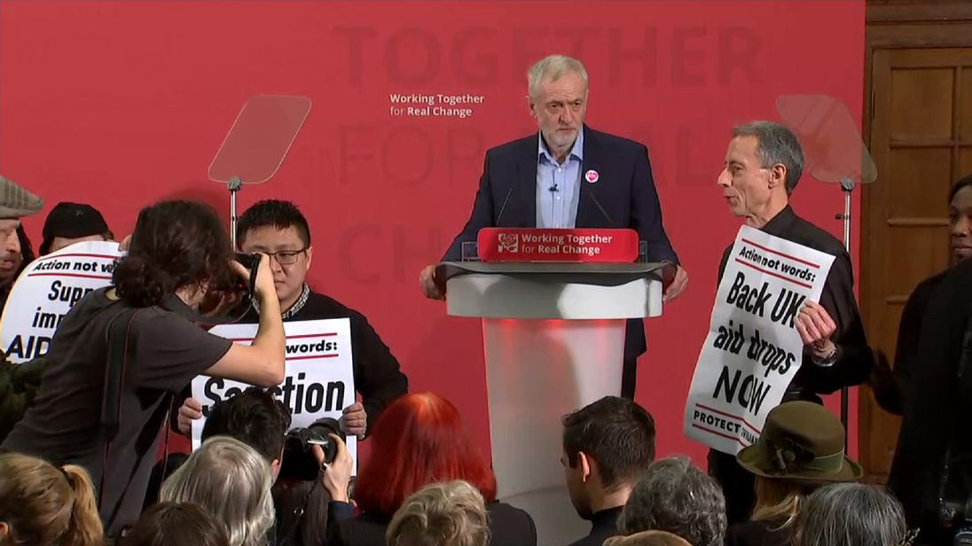 Peter Tatchell disrupted a Jeremy Corbyn speech