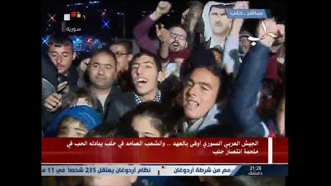 People celebrate in Aleppo