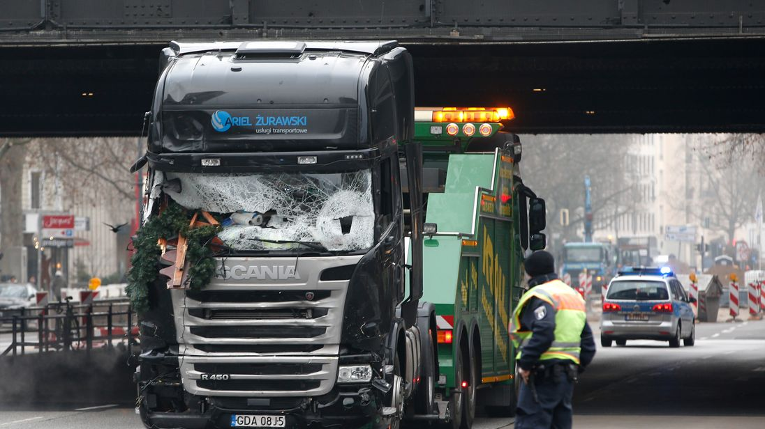 The cab of the lorry was towed away on Tuesday morning