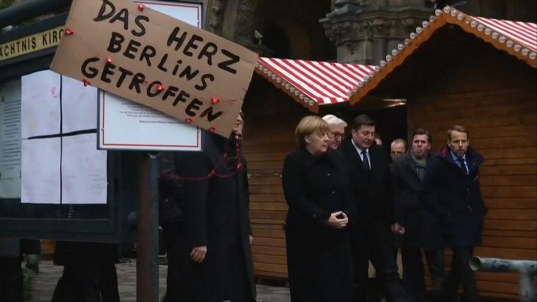 Angela Merkel at scene of Berlin lorry attack