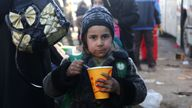 A Syrian girl, who was evacuated from the last rebel-held pockets of Syria's northen city of Aleppo