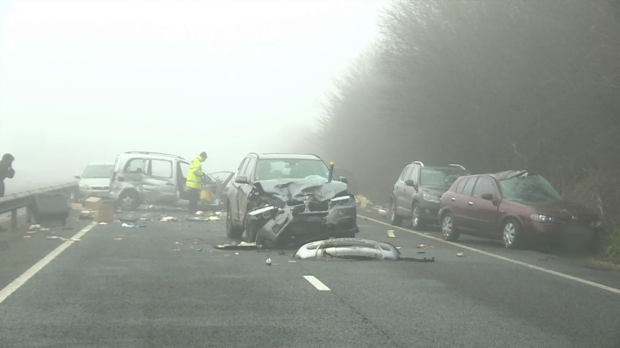Around 20 cars have been involved in a pile-up on the A40 in Oxfordshire   Sky's Siobhan Robbins reports from the scene