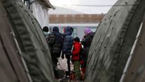 Migrants and refugees at a transit camp in Croatia. File pic