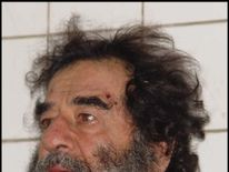 Saddam Hussein pictured after he was captured in December 2003