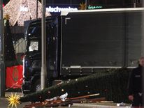 The lorry came to a stop after knocking down a Christmas tree