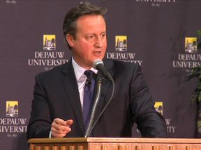 David Cameron was speaking to students in the US