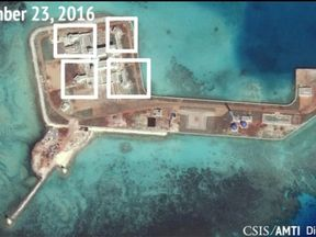 AMTI image apparently showing anti-aircraft guns on Hughes Reef in the South China Sea