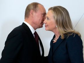 Vladimir Putin and Hillary Clinton during a meeting in September 2012