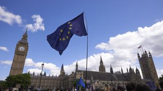 A European Union flag is flown in Parliament Square