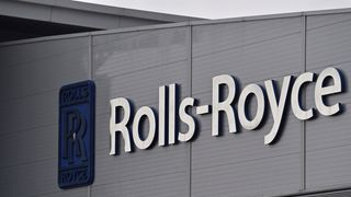 Rolls-Royce logo at its aerospace engineering and development site in Bristol