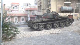 Tank in city of Taiz in Yemen