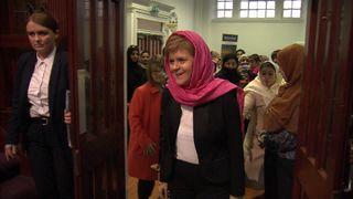 Nicola Sturgeon leaves the mosque