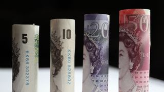 A general view of Fifty, Twenty, Ten, and Five pound notes