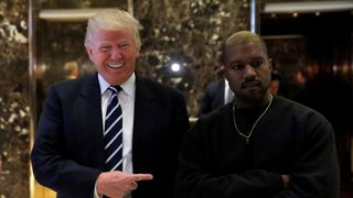 Donald Trump and Kanye West pose for a picture at Trump Tower in New York