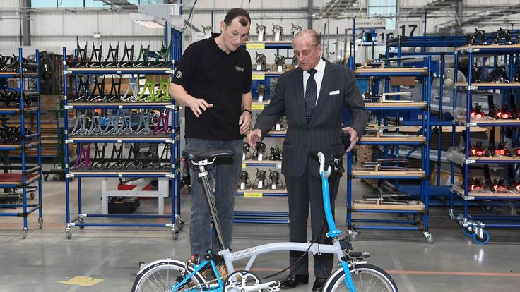 Prince Philip tours the Brompton bicycle factory