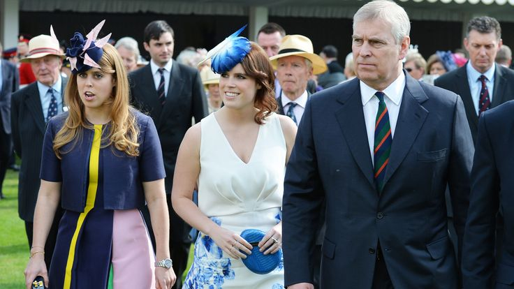 The Duke of York hosts the annual Not Forgotten Association Garden Party, accompanied by Princess Beatrice (left) and Princess Eugenie at Buckingham Palace, London