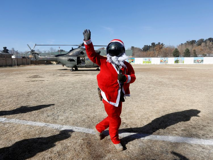 A soldier becomes Santa in Kabul, Afghanistan