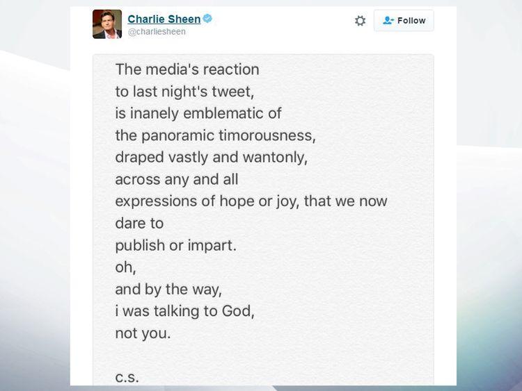 Charlie Sheen tweet