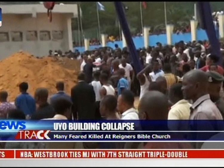 Hundreds of worshippers were said to have been inside the church at the time of disaster