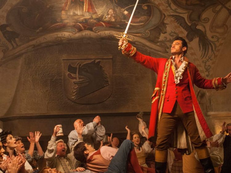 Evans plays Gaston, a villain who loves drinking and hunting