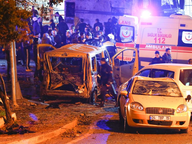 The aftermath of a car bomb blast at the Besiktas stadium