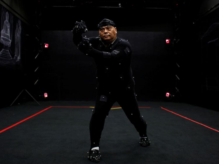 Motion-capture suits are used to animate digital character models