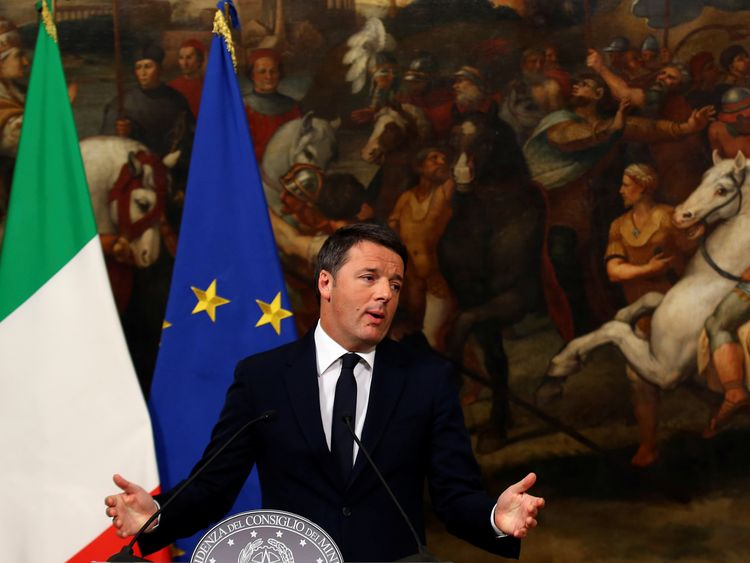 Italian Prime Minister Matteo Renzi announces his resignation