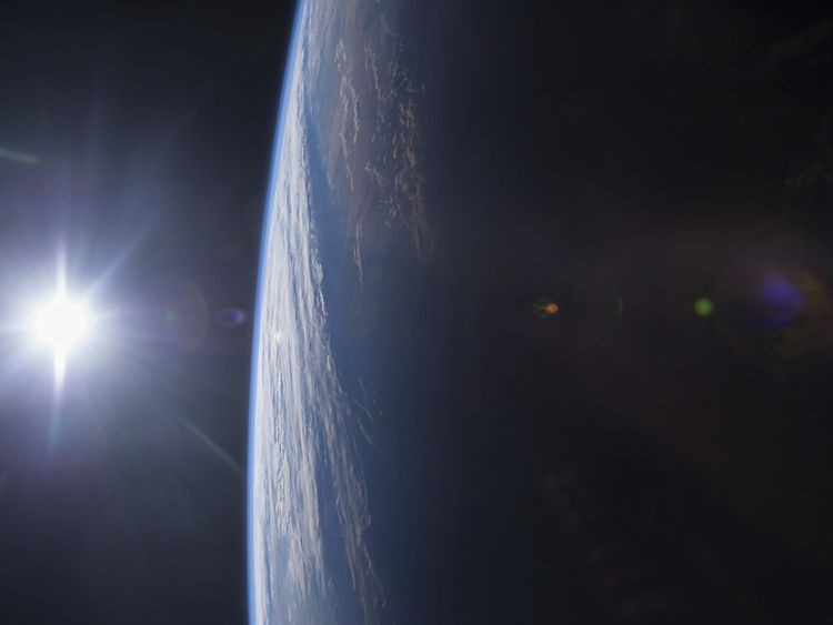 Sunset over the US Gulf Coast, taken from the International Space Station