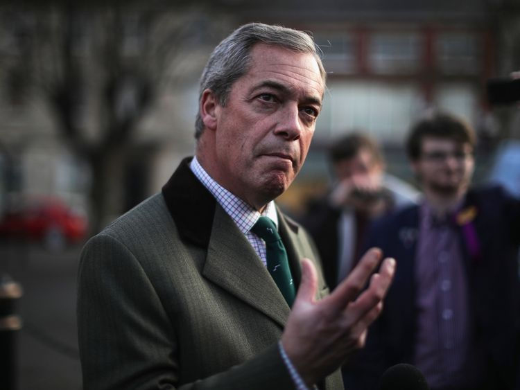 Nigel Farage canvasses for votes for a UKIP candidate in Sleaford