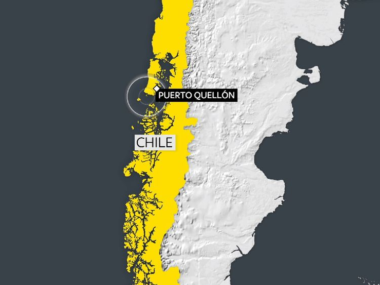 The earthquake struck 25 miles south west of Puerto Quellon