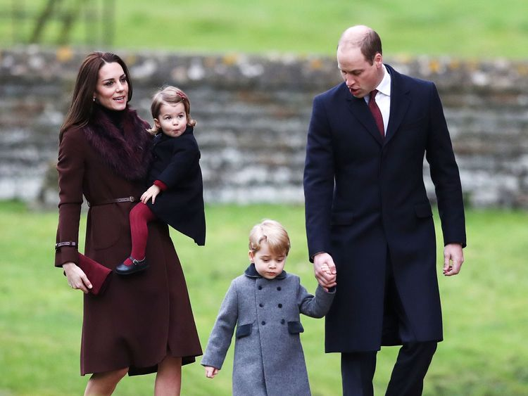 The Duke and Duchess of Cambridge,  with Prince George and Princess Charlotte, attend Christmas Day service in Englefield, Berkshire