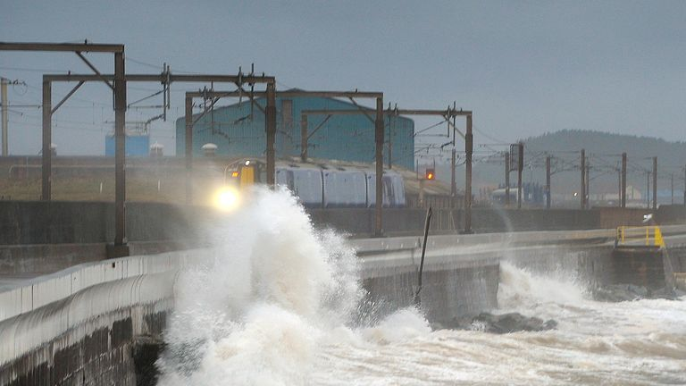 Saltcoats in Ayrshire, Scotland, as Storm Barbara hits the British coastline