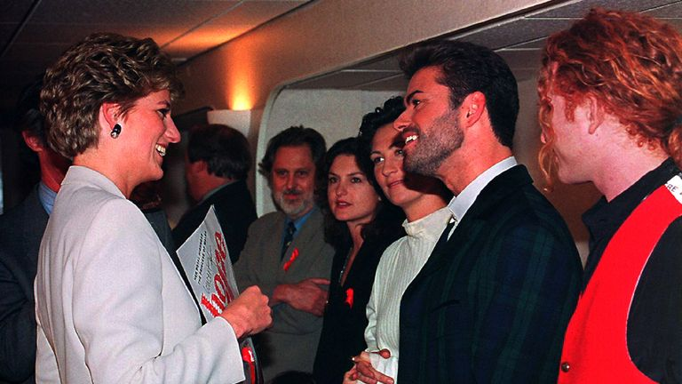 Princess Diana and George Michael in 1993 at Wembley where he performed in a concert to mark World AIDS Day