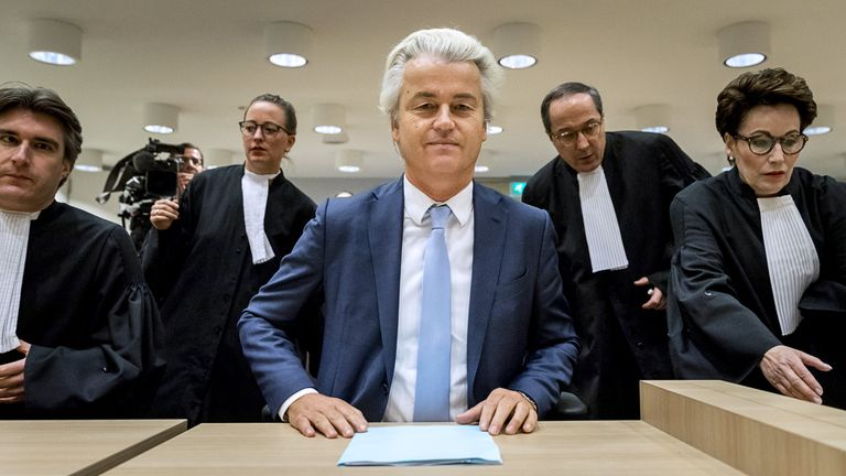Geert Wilders sits in court on the last day of his trial in November